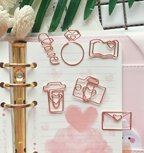 Купить с кэшбэком TUTU free shipping Rose Gold Paper Clips Bookmark Planner Tools Scrapbooking Tools Memo Clip Metal Binder Paperclip H0137