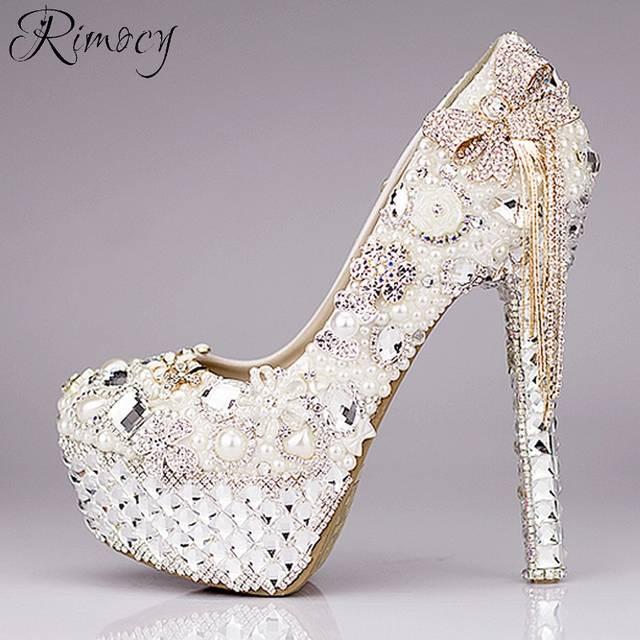8c03b7a422 placeholder Rimocy personalizado sapatos de casamento das mulheres de  cristal strass branco e pérolas bowtie plataforma de