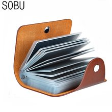 New PU Leather Function 24 Bits Card Case Business Card Holder Men Women Credit Passport Card Bag ID Passport Card Wallet H088(China)