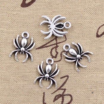 30pcs Charms Spider Halloween 17x14mm Antique Bronze Silver Color Pendants Making DIY Handmade Tibetan Bronze Jewelry 50g 100g mixed flower petal metal charms pendants vintage antique bronze silver bracelets necklace for diy jewelry making craft