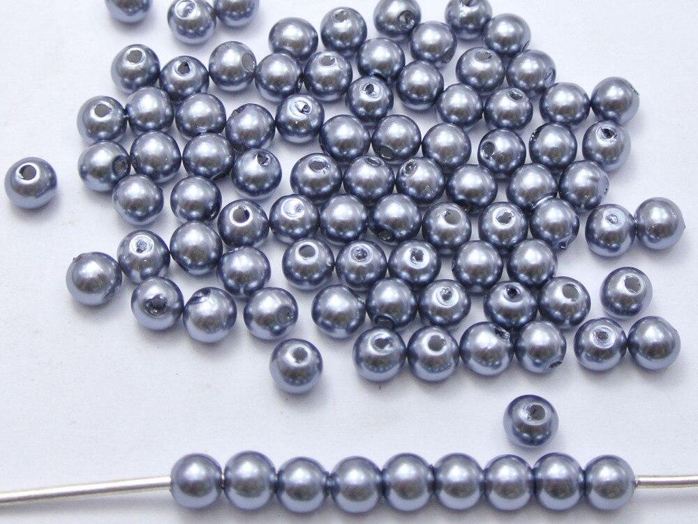 500 шт. 6 мм Пластик искусственный жемчуг круглый Бусины темно-серый с искусственным жемчугом