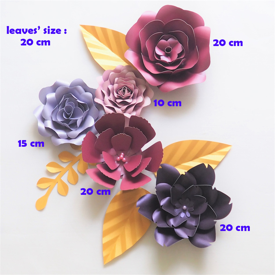 DIY Giant Paper Flowers Backdrop Artificial Handmade Paper Mix Flower 5PCS + 4 Leaves Wedding & Party Deco Home Decoration