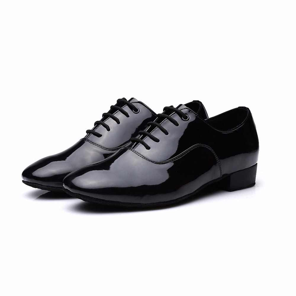 New Modern Dance Shoes Men Ballroom Tango Latin Waltz Dance Shoes Soft Bottom Shockproof Comfort Glossy and Dark Side Uppers