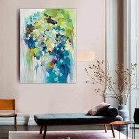手描きの油絵現代抽象ブルーライトグリーン色の春オリジナルクアドロスオフィスキャンバス壁アートポイントペイント