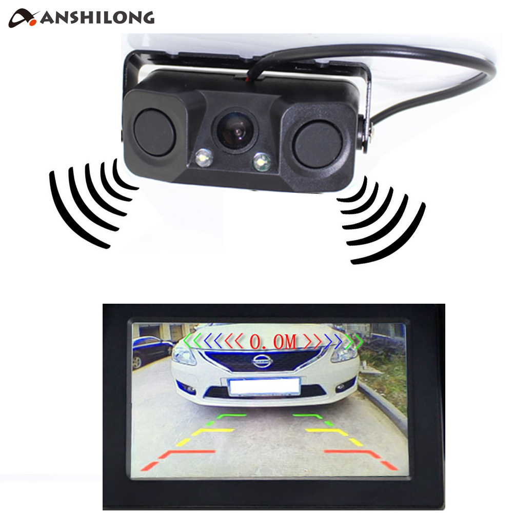 ANSHILONG Auto Car Parktronic Video Parking Sensor Bi Alarm with Rear View Camera   2 Radar Distance Display Indicator