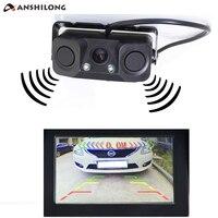 ANSHILONG Auto Car Parktronic Video Parking Sensor Bi Bi Alarm With Rear View Camera 2 Radar