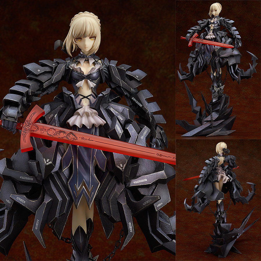 цена на big size Anime Fate Stay Night GSC Saber Alter Huke Black Ver. Action Figure With color box Collection Model Doll Toys Gift