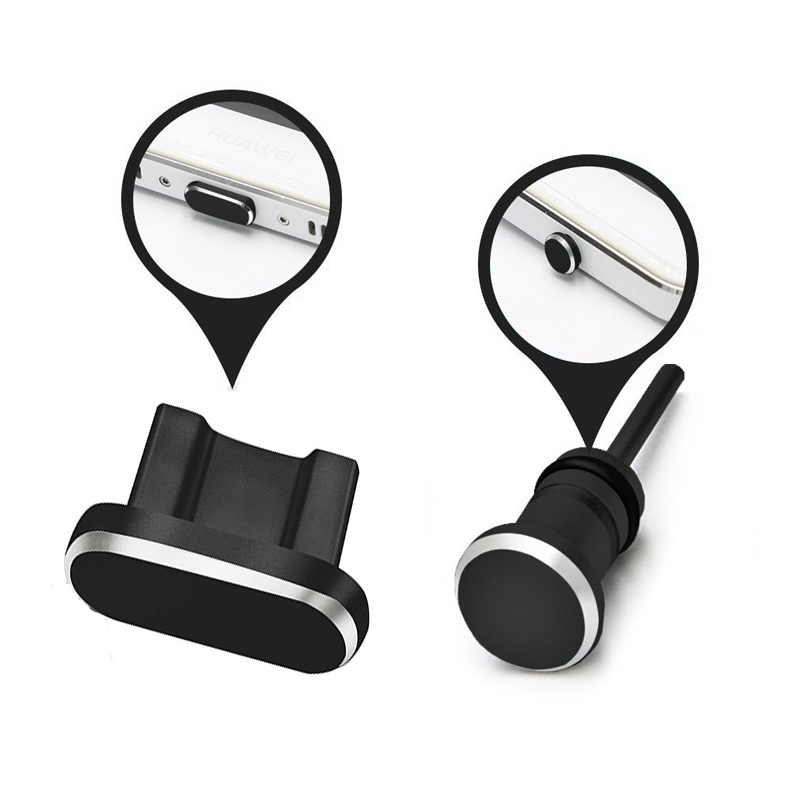1Set Metal Dust Plug Phone Accessories Micro Charging Port + 3.5mm Earphone jack Plug For Android Samsung Xiaomi LG Cellphone