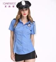 IDARMEE 3 Cái New Ladies Officer Uniform Sexy Costume Cop Cosplay Trang Phục Cảnh Sát Sexy cho Phụ Nữ S9049