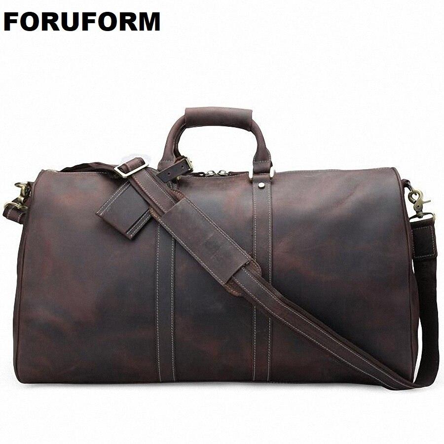 Nuevo Caballo Loco Cuero auténtico hombres Bolsas de viaje calidad hombre viaje gran capacidad de viaje bolsa de equipaje LI-1848