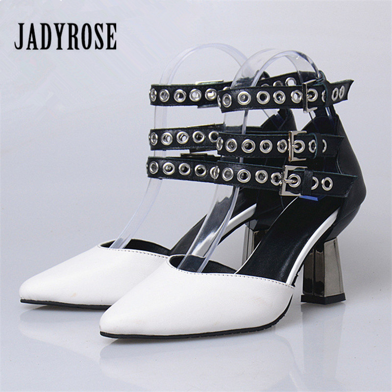 Jady Rose Women Pointed Toe Metal Decor Summer Sandals High Heel Shoes Woman Ankle Straps Women Pumps Stiletto Valentine Shoes wholesale lttl new spring summer high heels shoes stiletto heel flock pointed toe sandals fashion ankle straps women party shoes