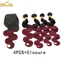 7A 99J Brazilian Virgin Hair Body Wave With Lace Closure Ombre 1B Burgundy Brazilian Hair Weave Bundles 4pcs with 1pc Closure