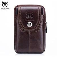 BULLCAPTAIN New Waist Bag Men Casual Waist Pack Genuine Leather Travel Waist Bag Waist Packs Men