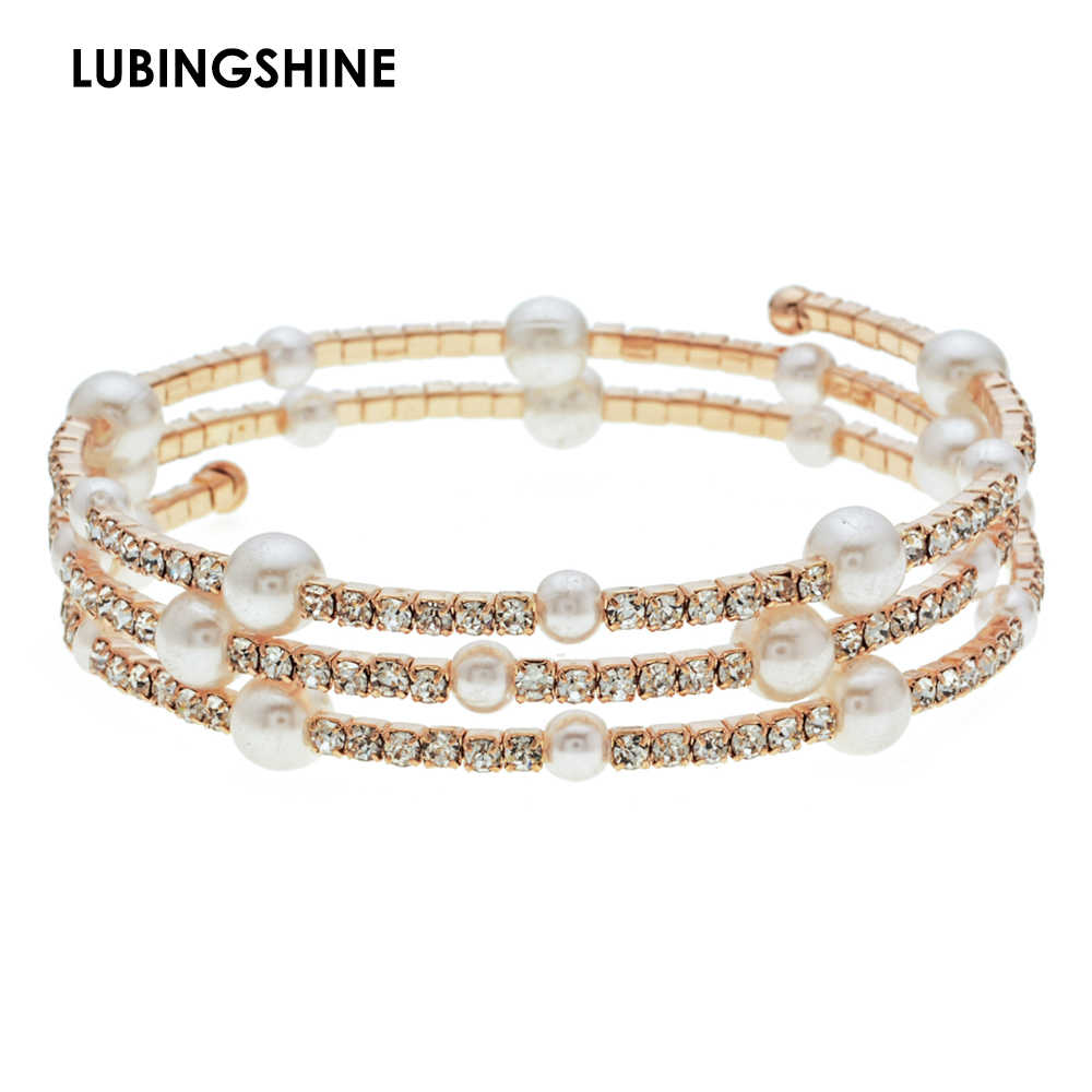 Romantic Gold Color Crystal Bracelets&Bangles Imitation Pearls Multilayer Bracelet Cuff Wristband Jewelry for Women pulseras