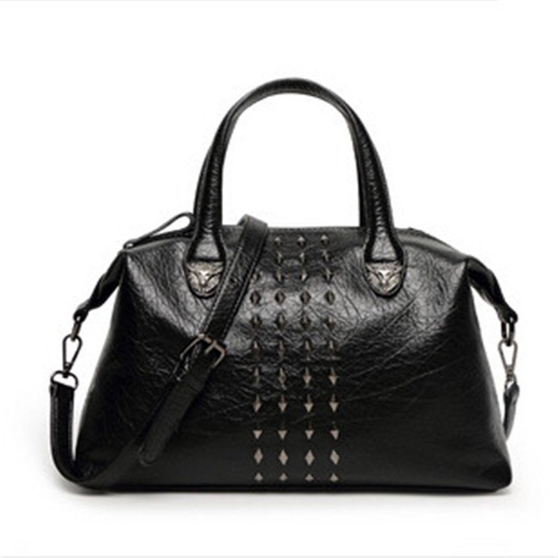 ФОТО Women Designer Handbags 2017 Famous Brand High Quality Hand Bag Retro Rivet Shoulder Medium Tote Bag Hobo Messenger Bags Bolsas