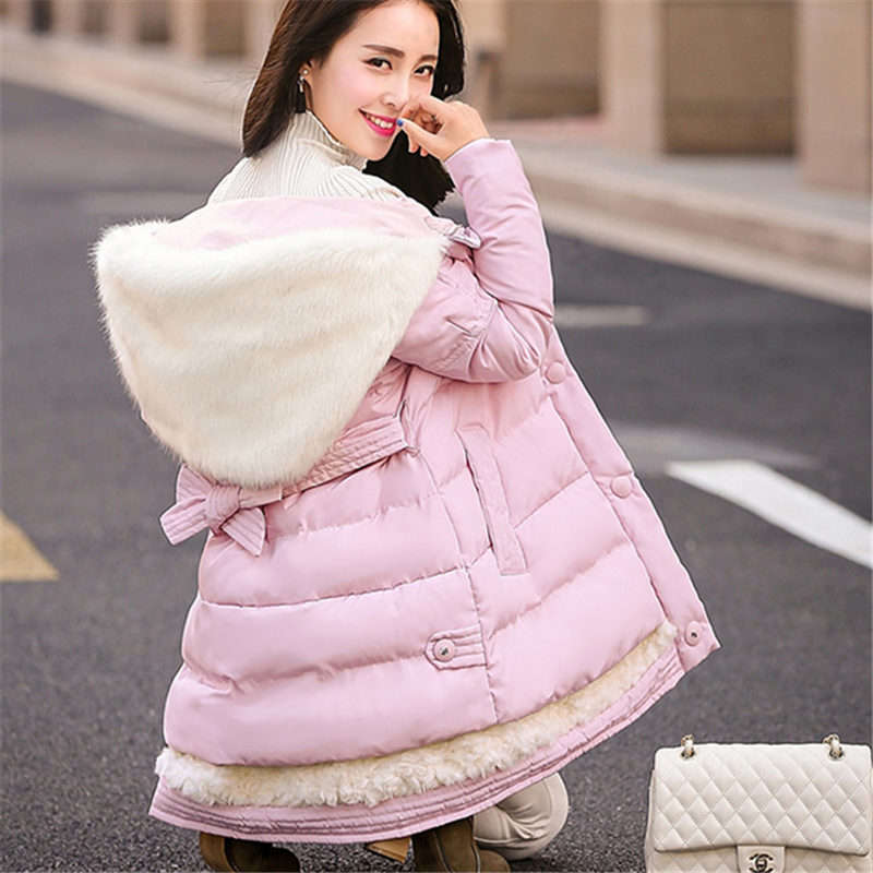 2016 New Winter Coat Women A-Line Loose Hooded Down Cotton Padded Jacket Thicken Warm Medium-Long Outside Parkas Female WY303
