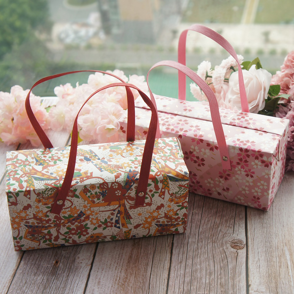 Yellow Pink Flower 5pcs Portable Paper Box As Roll Cake Cookie Candy Handmade Wedding Birthday Party Gifts Packaging