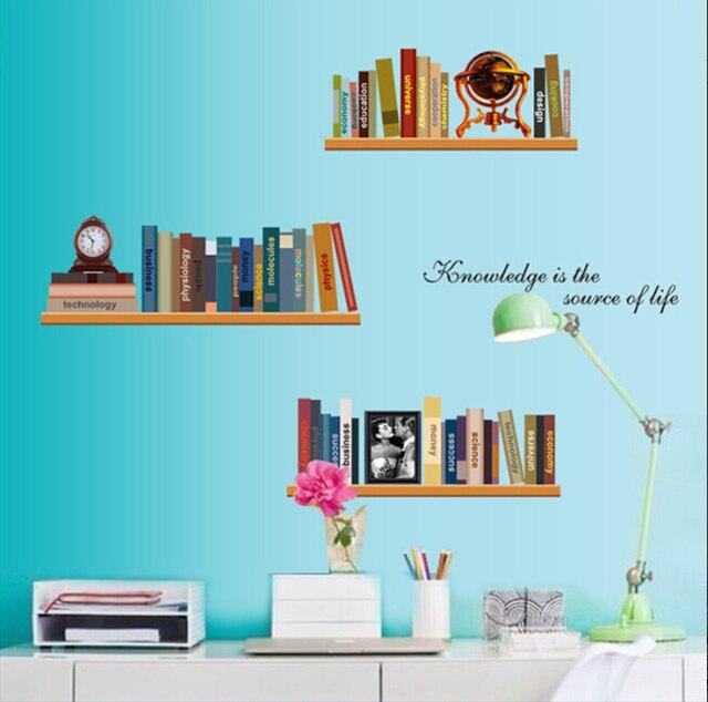 Bookshelf Study School Wall Sticker Cartoon For Kids Room Decor Bedroom Art Home Decals