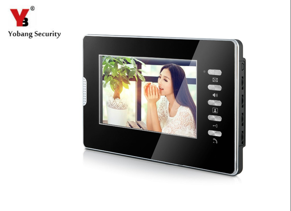 цена YobangSecurity Black 7 Inch Color Screen Monitor Wired Video Door Entry System Video Intercom Monitor for House Office Apartment