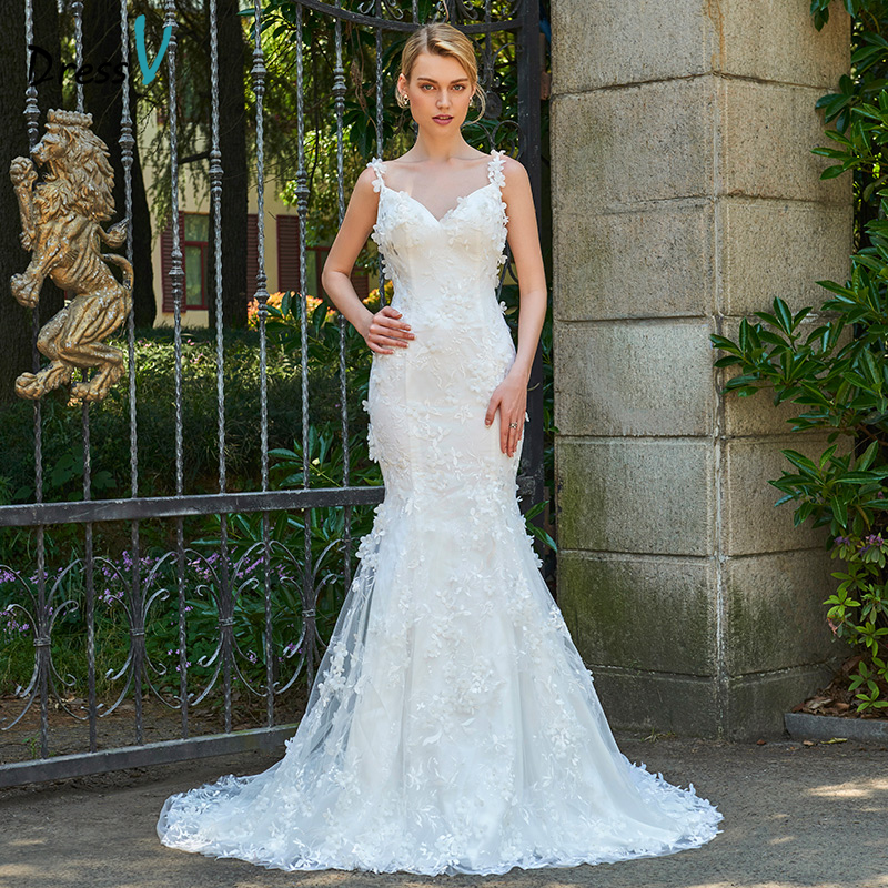 Spaghetti Strap Lace Mermaid Wedding Gowns: Aliexpress.com : Buy Dressv Spaghetti Straps Neck Mermaid