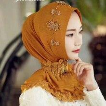 Женский роскошный шарф с бисером мусульманский хиджаб Мода Вышивка Декор исламский мягкий дышащий хиджаб головной убор# YS724