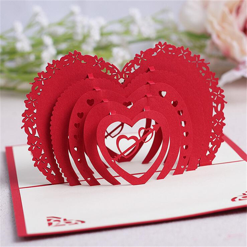 5Set Casamento 3D Birthday Gift Cards Heart Handmade