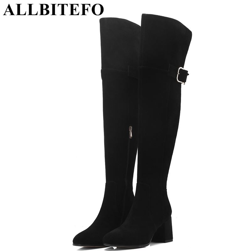 ALLBITEFO fashion sexy Nubuck leather women over the knee boots thick heel women boots winter snow girls shoes size:33-41 allbitefo over the knee boots nubuck leather medium heel women boots 4 colors winter boots thick heel snow boots size 33 43