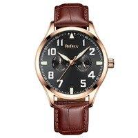 BIDEN Mens Wristwatches Waterproof Brand Genuine Leather Man Watches Quartz Calendar Week Male Clocks Citizen Movement
