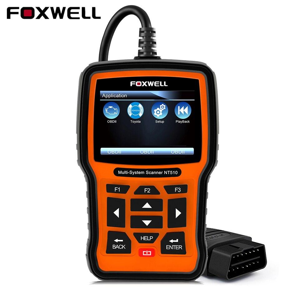 Foxwell NT510 OBD2 Scanner ABS Airbag DPF pour Toyota Lexus Honda Acura Hyundai Kia Outil De Diagnostic pour Peugeot Citroen Renault