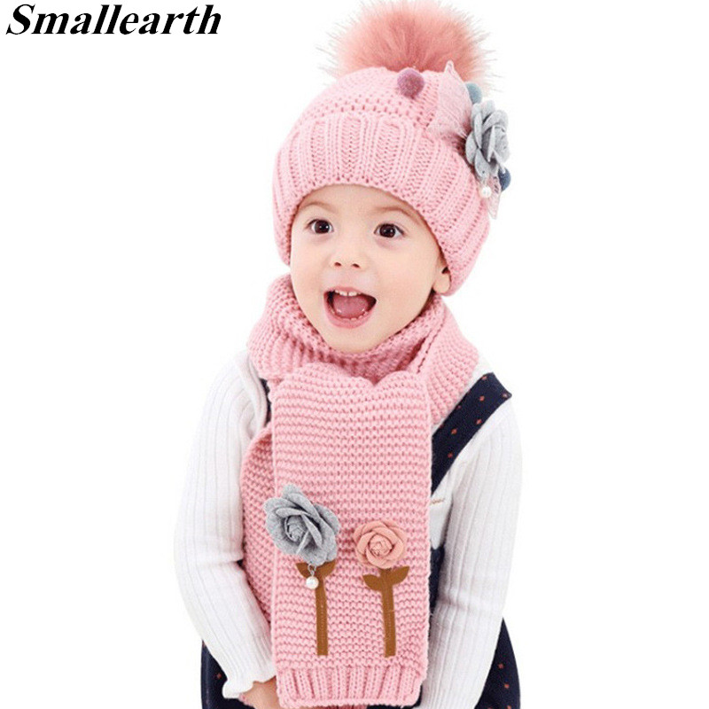 2pcs/set Winter Baby Knitted Hats Scarf Girls Warm Floral Cap Protects Ear Caps + Scarf Suits Children Beanies Photography Props