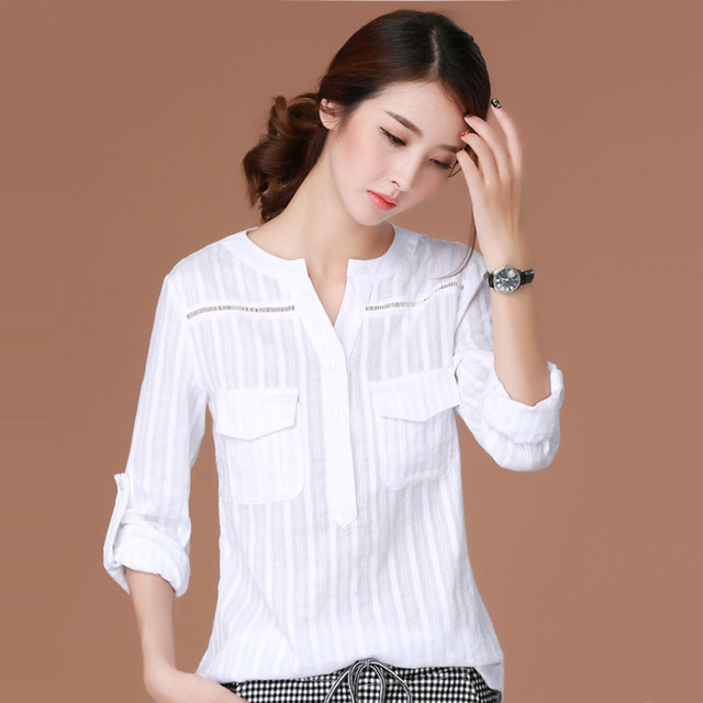 a2a6c9df664 Blusas Femininas 2016 E Camisas Long Sleeve Shirt Women Clothes White Blouse  Plus Size Korean Fashion