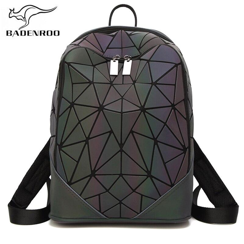 Badenroo Women Backpack Female Geometric Holographic Leather Backpacks Plaid Sequin Rucksack Diamond Backpack Mochila Feminina