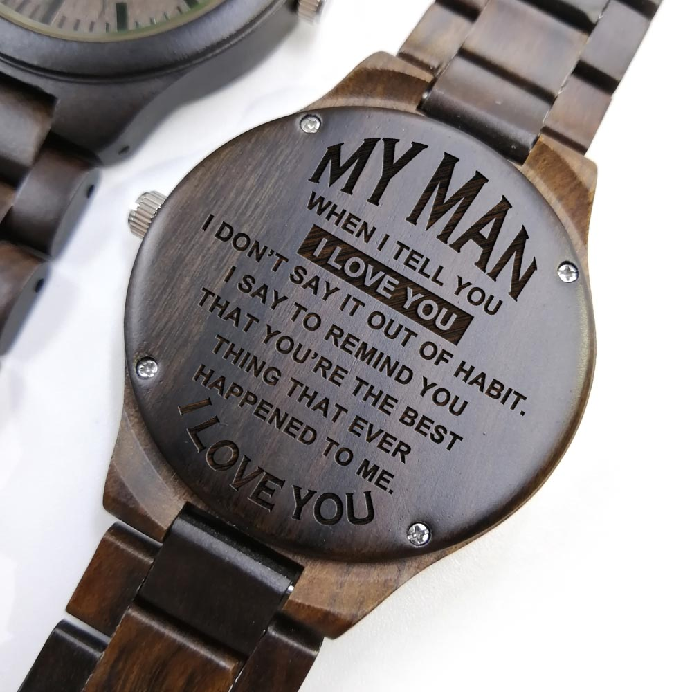 To My Man- Engraved Sandalwood Watches Personalized Wooden Watch Custom Quote Personalized Watch Mens Wood Watch Gifts For Him