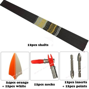 "Image 5 - חץ וקשת עמוד השדרה 350 400 450 500 600 700 750 800 ID4.2mm פחמן חצים פיר סכינים Recurve LongBow ציד ירי + .001"""