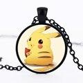 Cute Animal Pokemon Go Pikachu Pendant Necklace Pokeball Round Glass Cabochon Lovely Pikachu Necklace for Women Fashion Jewelry