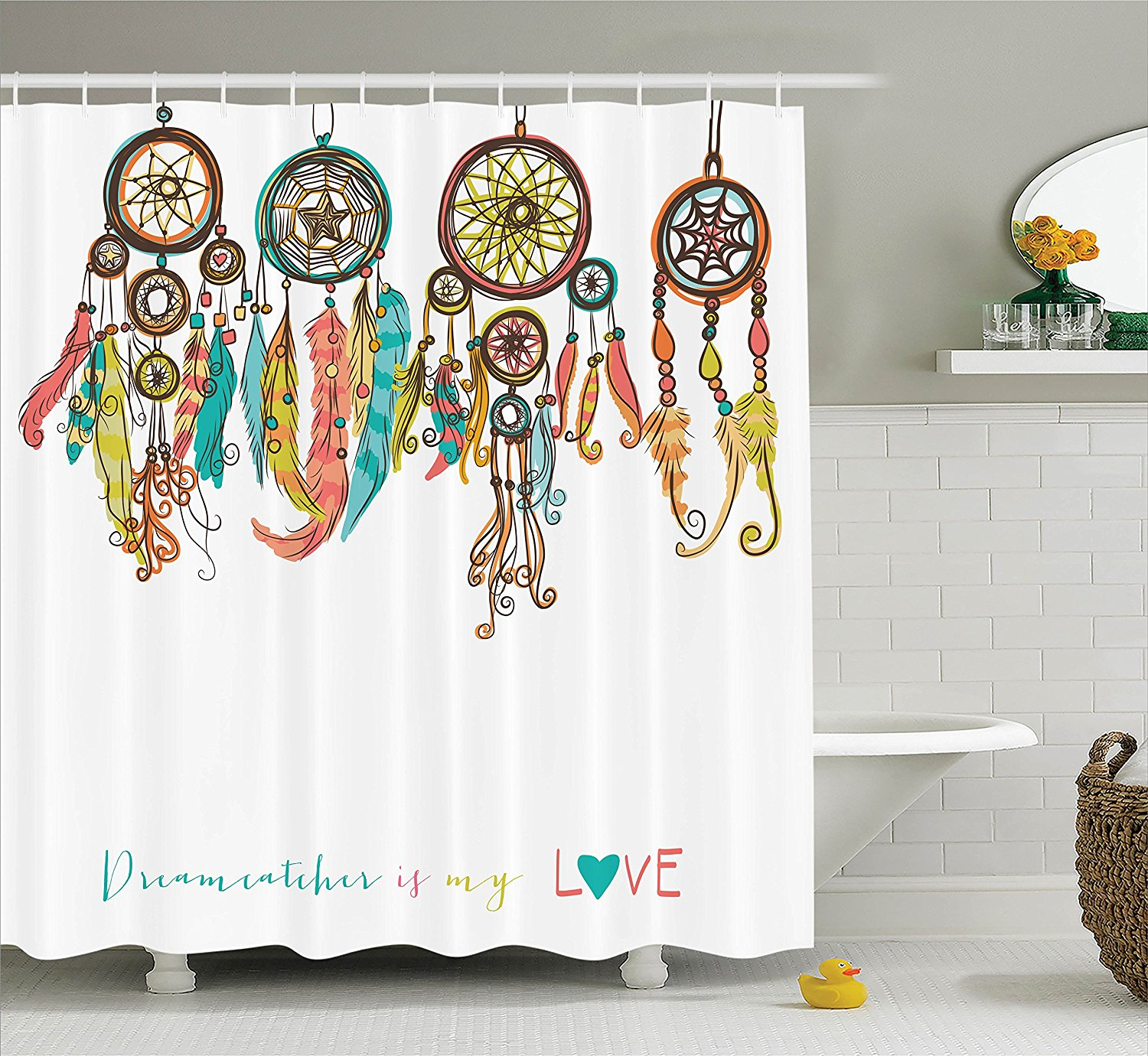 Aliexpress Buy Native American Shower Curtain Colorful Ethnic Dreamcatchers Tribal Design Elements Print Fabric Bathroom Set From