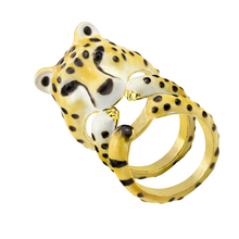 GORGEOUS TALE 2017 3pcs/Set Leopard Ring Woman Cocktail Gold Color Enamel Animal Natural Big Cat Female Party Fashion Jewelry