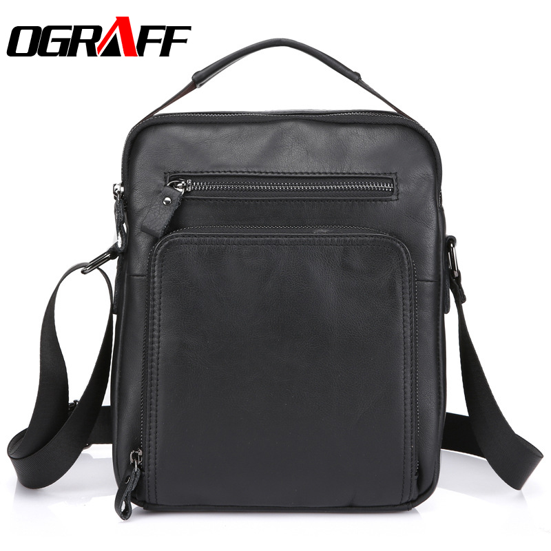 OGRAFF Genuine Leather Men Bag Handbags Men Messenger Bags Briefcases Men Crossbody Bags Designer Causal men