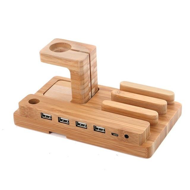 Подлинная Настоящее Bomboo Деревянный Зарядная Станция Зарядное Док-Станция Для iPhone 7/7 Plus/6/6 s/5/5S Для iPad Для Apple Watch Держатель Стоять