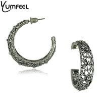 Yumfeel Brand Vintage Hoop Earring Metal with Antique Silver Plated Hollow Flower Design Hoop Vintage Earrings for Woman Brincos(China)