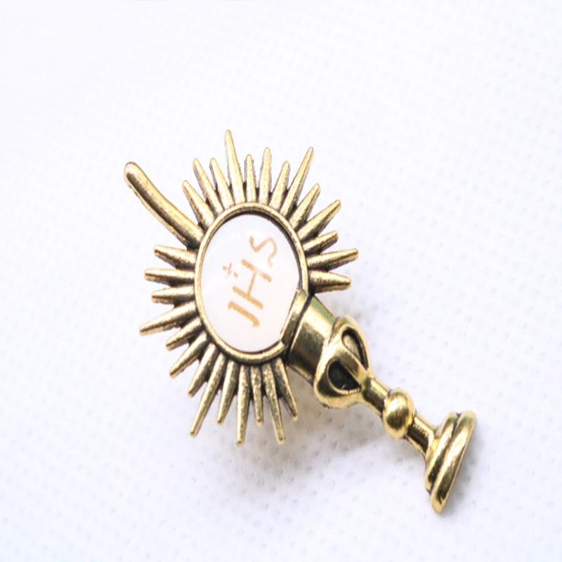 Religious Brooch 12 Pcs Zinc Alloy Gold Silver Jesus Little Holy Grail Jewelry