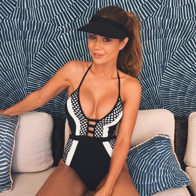 71005ff519560 Women One Piece Swimsuit Swimwear Bathing Monokini Push Up Padded spliced  print White Black Beachwear