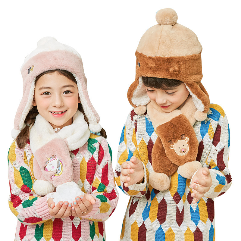 Kocotree Fashion Children Hat Scarf Suit Boy Girl Winter Hat Scarf Two Sets Of Baby Wool Ear Cover Kids Cute Unicorn Hat