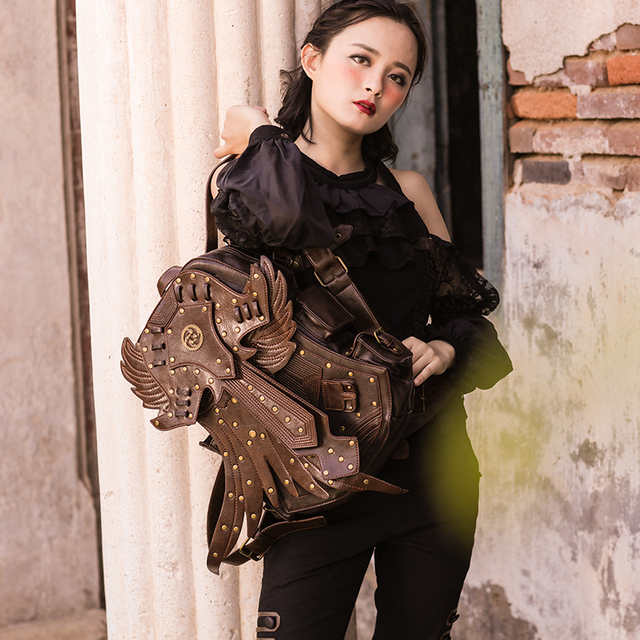 2018 Fashion Women SteamPunk Backpack Retro Rock Travel Bag Halloween Retro Small Demon Personality Women Punk Backpack 1