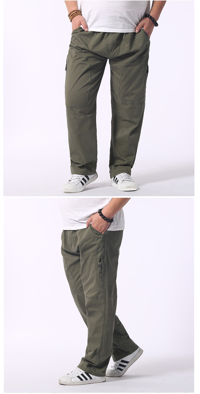 Man Loose Fitting Cargo Pants Yellow Black Gray Khaki  Overall For Mens Cotton Comfort Trousers Elastic Waist Pant American Apparel (8)