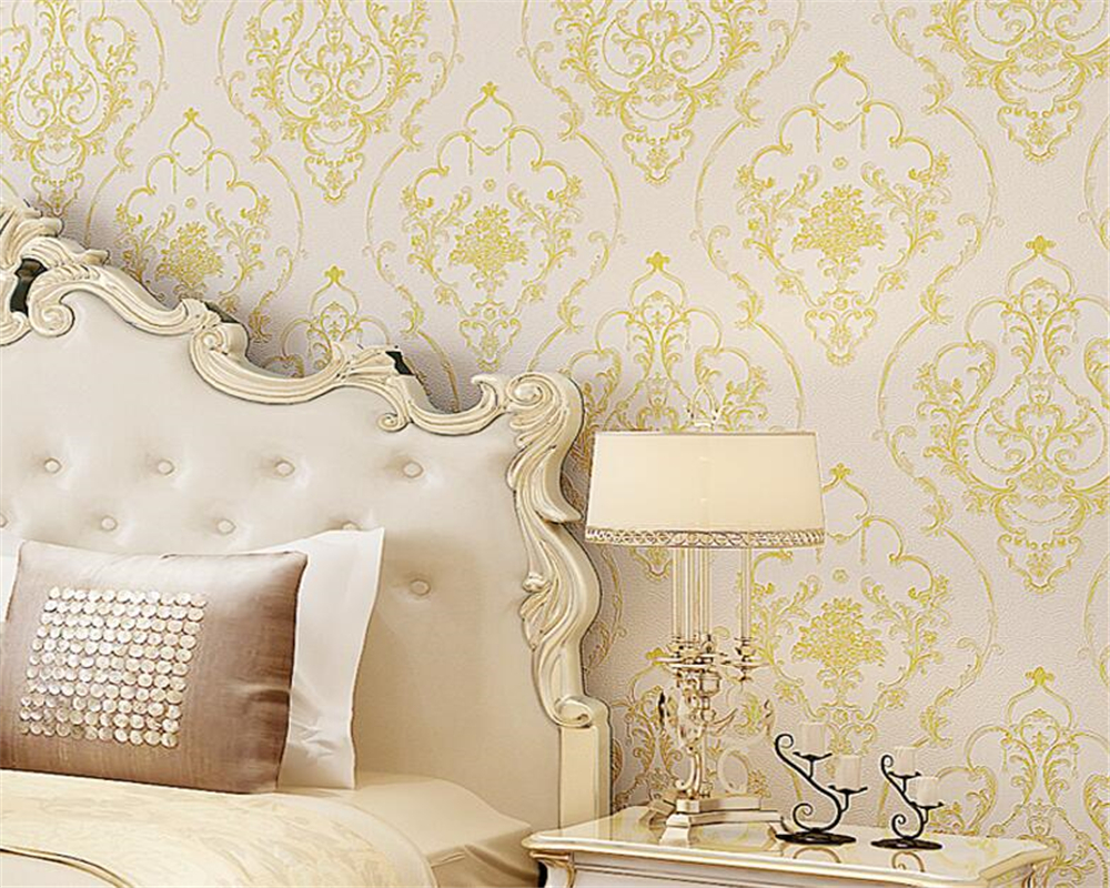 Beibehang European style fine embossed wallpaper living room bedroom ...