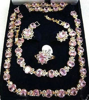 HOT SELL Beautiful pink crystal necklace bracelet earring ring watch wholesale Quartz stone CZ crysta Top