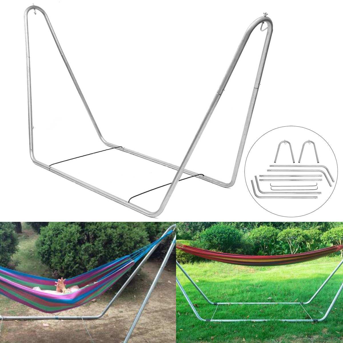 Portable grand jardin Camping Patio extérieur hamac balançoire chaise lit en métal cadre Stand seulement 270*80*120cm
