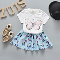 2017 Summer New Baby Girls Clothes Set Printed Butterfly T-shirts + Skirt 2pcs New Born Girls Suit Infant Girls Clothing Sets