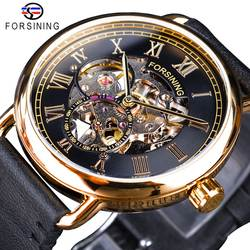 Forsining классические черные золотые ажурные часы Скелет Мужские механические часы лучший бренд класса люкс черный натуральная кожа